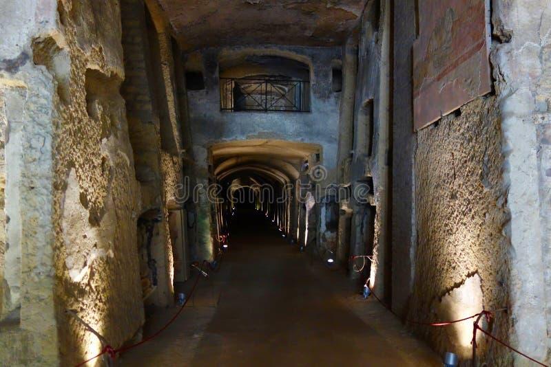 Naples Italien - katakomber av San Gennaro arkivfoton