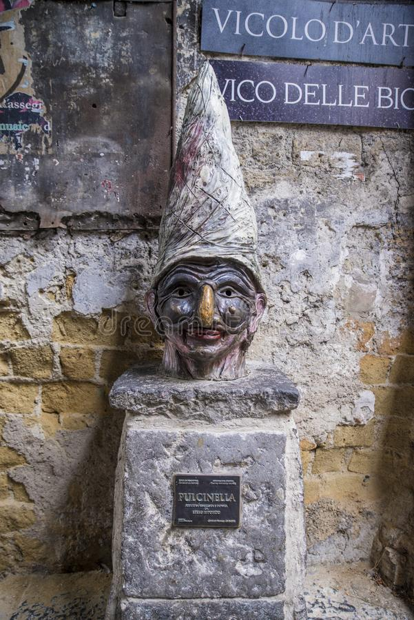 Naples, Italy - August 16, 2015 : A portrait of figure Pulcinella royalty free stock images