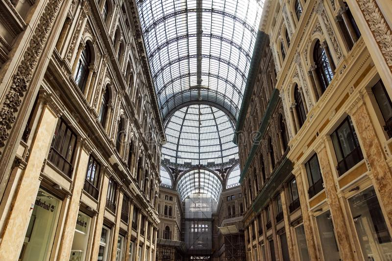 NAPLES, ITALY- AUGUST 19, 2017: Shopping gallery Galleria Umberto in Naples, Italy. Naples historic city center is the royalty free stock photos