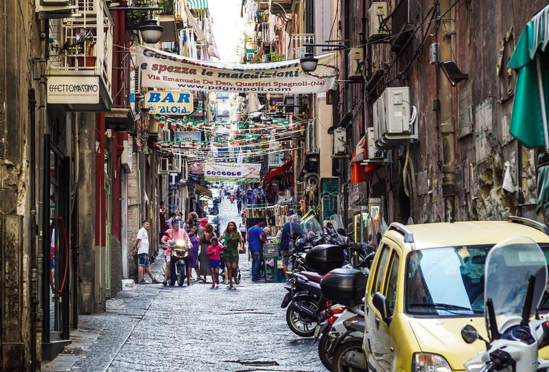 Naples, Italy - August 10 2017: Spanish Quarters Quartieri Spagnoli is a part of the city of Naples in Italy. It is a stock images