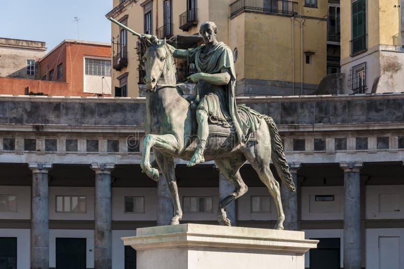 Equestrian Statue of Ferdinando I di Borbone. Naples, Italy. Equestrian Statue of Ferdinando I di Borbone in Piazza del Plebiscito royalty free stock photography