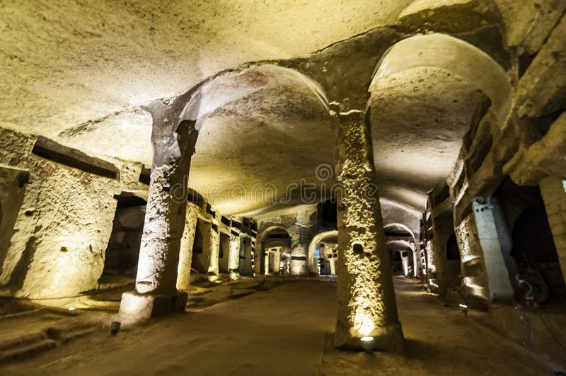 Catacombs of San Gennaro in Naples, Italy stock images
