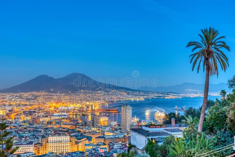 Naples in Italy with Mount Vesuvius royalty free stock photo