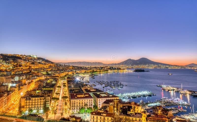 Naples in Italy with Mount Vesuvius stock photos