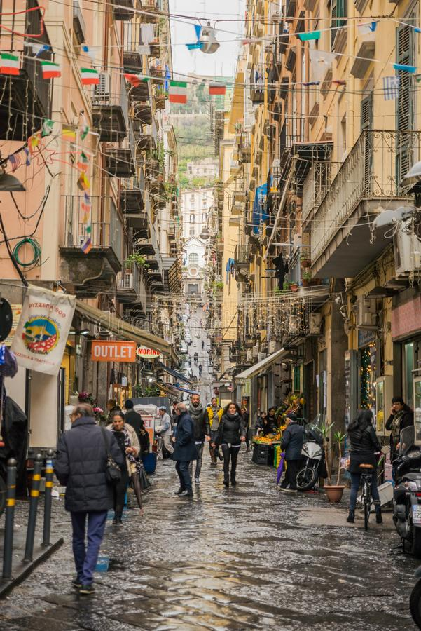 Naples, Italy - November 30 2017: City streets full of people in royalty free stock photography
