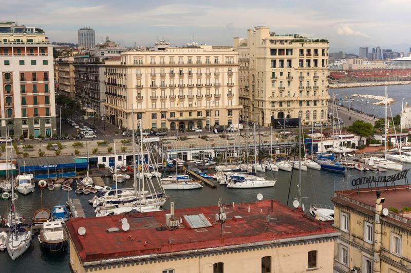 NAPLES, ITALY - OCTOBER 31, 2015: Air view of the Grand Hotel Santa Lucia and Hotel Excelsior in historical center. Air view of the Grand Hotel Santa Lucia and stock photography