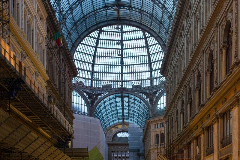 NAPLES, ITALY - OCTOBER 31, 2015: Glass ceiling in the Galleria Umberto I ib Naples, Italy. royalty free stock image