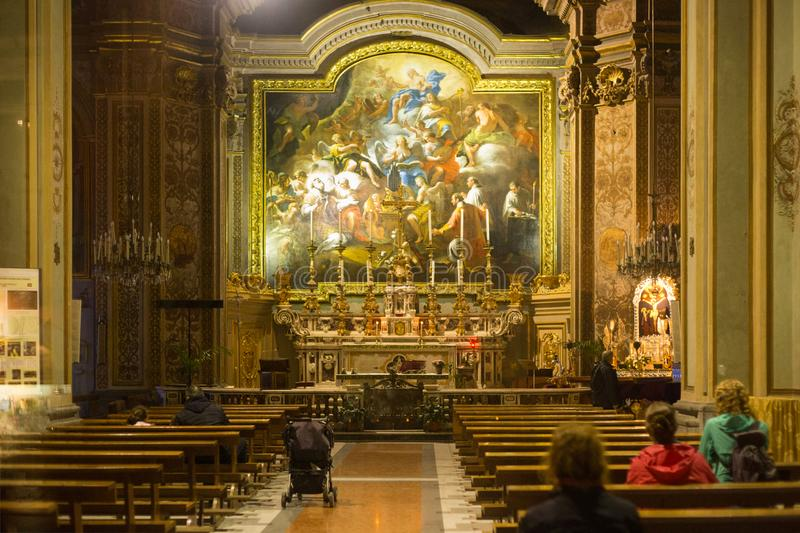 NAPLES, ITALY - OCTOBER 31, 2015: Interior of the church of St. Nicholas the Charitable. Is a church located on via Toledo, almost stock images