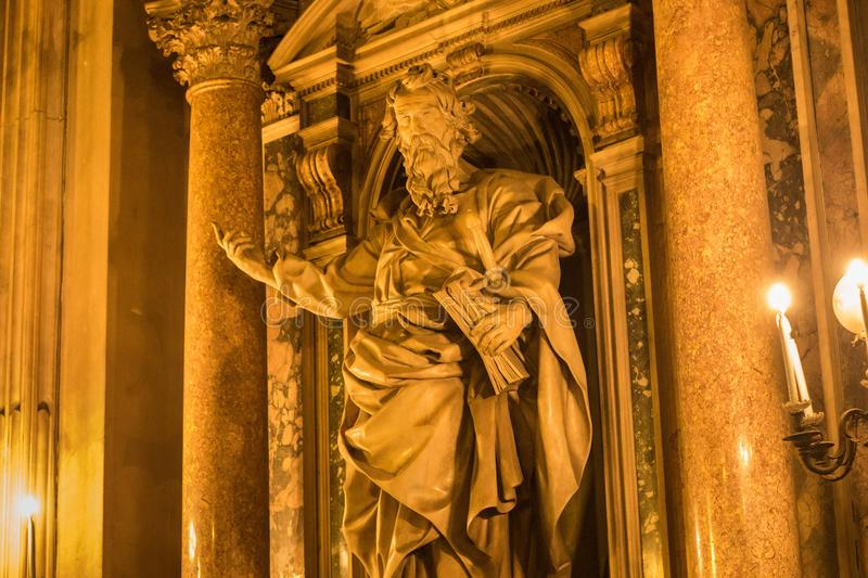 NAPLES, ITALY - OCTOBER 31, 2015: One of the sculptures in the Naples Cathedral. Is a Roman Catholic church and the seat of the stock images