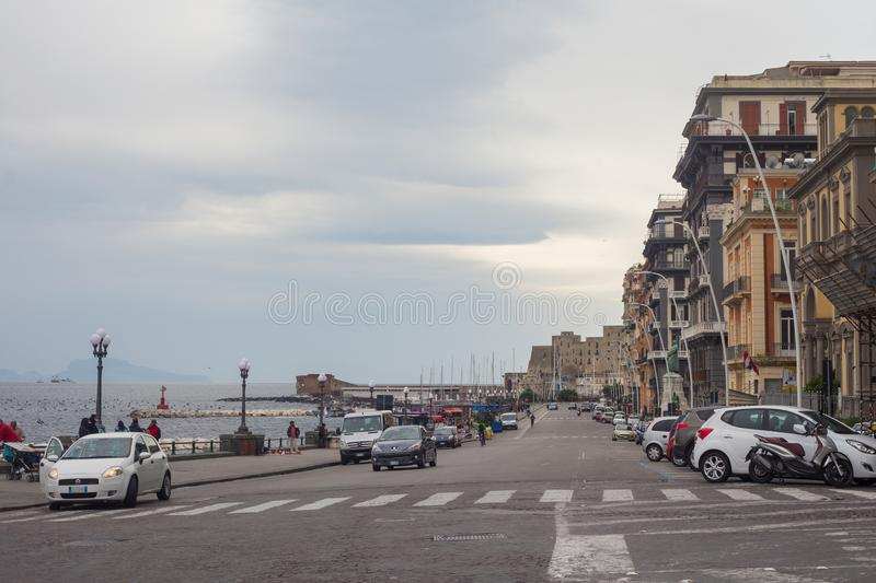 NAPLES, ITALY - OCTOBER 31, 2015: View of the road near Gulf of Naples embankment in the center of city. Naples is the regional stock photos