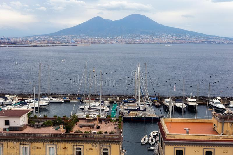 NAPLES, ITALY - OCTOBER 31, 2015: View of the volcano Vesuvius and the Gulf of Naples. royalty free stock photo