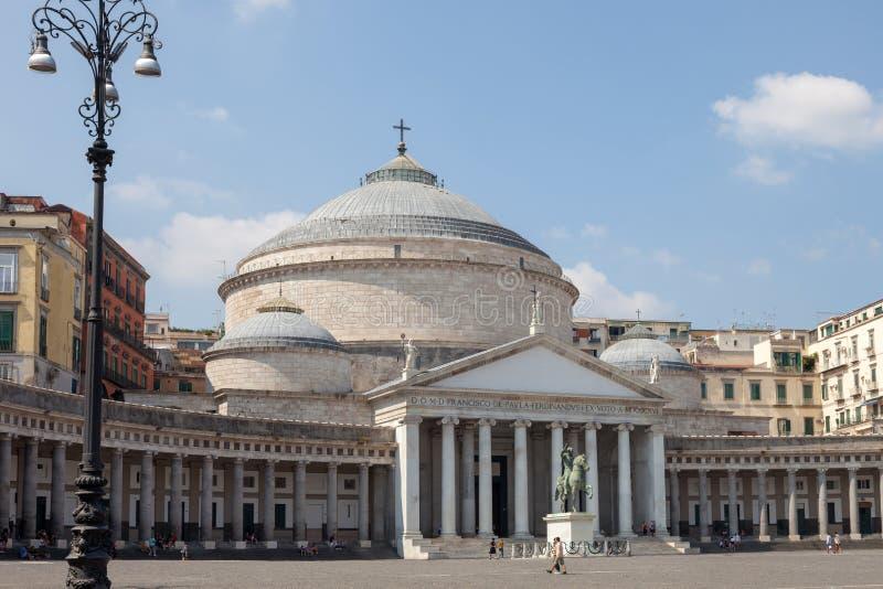NAPLES, ITALY: Piazza del Plebiscito and Basilica Reale Pontificia San Francesco da Paola. NAPLES NAPOLI, ITALY - SEPTEMBER 3, 2019: Piazza del Plebiscito and stock image