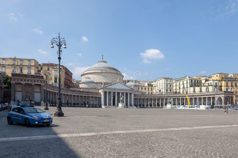 NAPLES, ITALY: Piazza del Plebiscito and Basilica Reale Pontificia San Francesco da Paola. NAPLES NAPOLI, ITALY - SEPTEMBER 3, 2019: Piazza del Plebiscito and stock photography