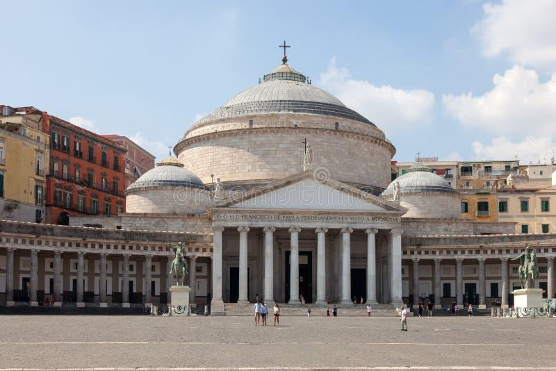 NAPLES, ITALY: Piazza del Plebiscito and Basilica Reale Pontificia San Francesco da Paola. NAPLES NAPOLI, ITALY - SEPTEMBER 3, 2019: Piazza del Plebiscito and stock photo