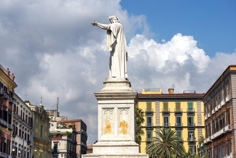 Monument of Dante Alighieri at Piazza Dante in Naples. Naples, Italy - september 14, 2018: monument of Dante Alighieri  by Tito Angelini at the Piazza Dante in stock image