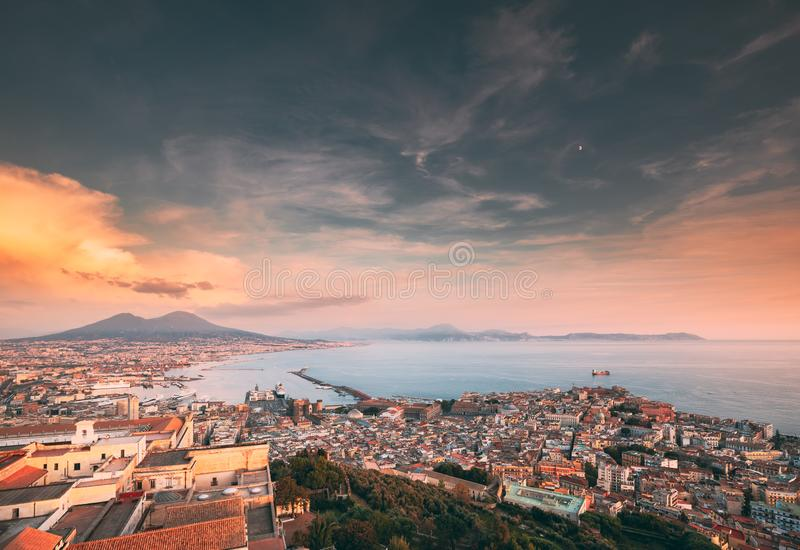 Naples, Italy. Skyline Cityscape City In Evening Sunset. Tyrrhenian Sea And Landscape With Volcano Vesuvius. Naples, Italy. Top View Skyline Cityscape City In stock photos