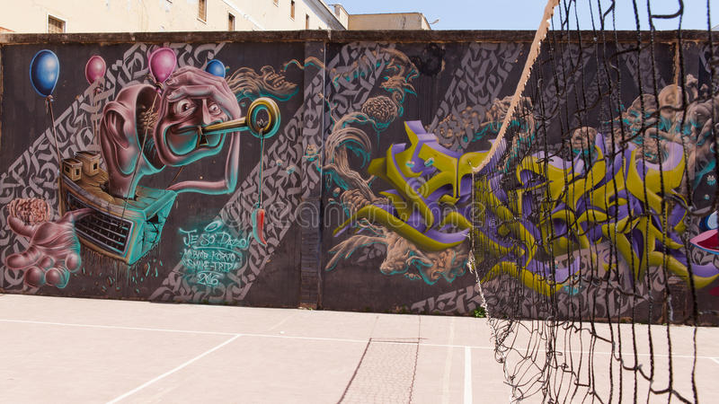 Naples juridiskt psykiatriskt sjukhus för murales arkivfoto