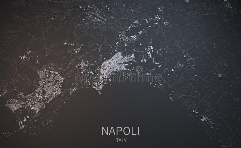 Naples mapa, satelitarny widok, Włochy ilustracji
