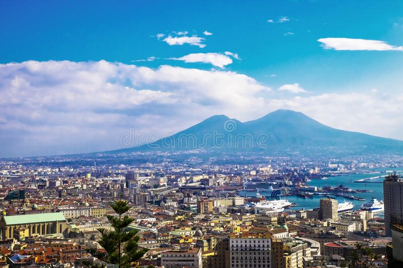 Naples and mount Vesuvius in the background in a summer day, Italy, Campania royalty free stock photography