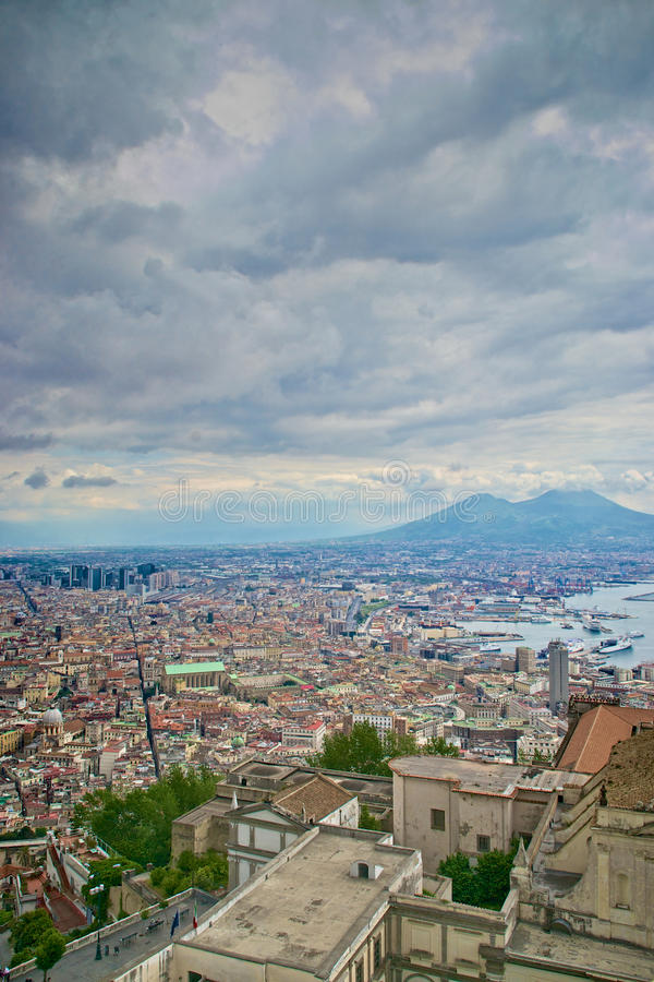 Naples and Mount Vesuvius stock photography