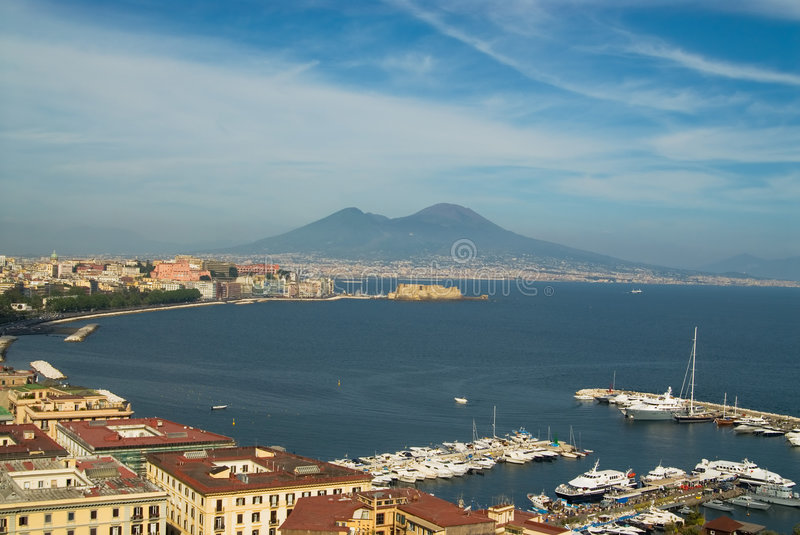 Naples and Mt.Vesuvius. A panorama of the gulf of Naples, Italy, with Mt. Vesuvius in the background stock photos