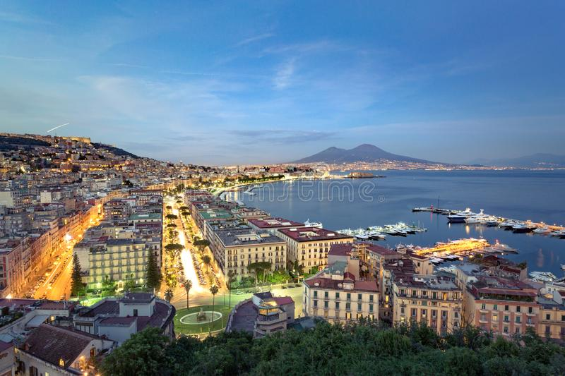 Naples by night, cityscape royalty free stock photos