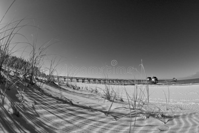 Naples pier Black and White stock photography