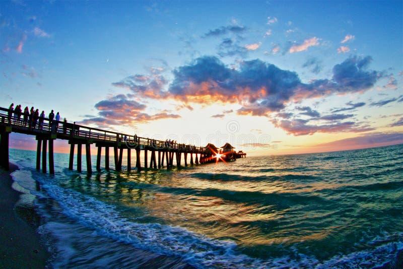 Naples pier Winter Sunset stock photography