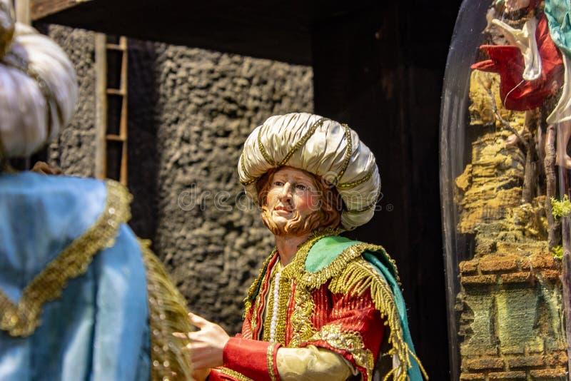 Naples, San Gregorio Armeno, un typique présagent de la scène napolitan de nativité images stock