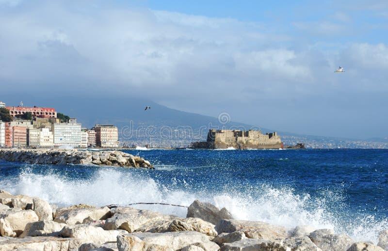 Naples, sea, castle stock photography