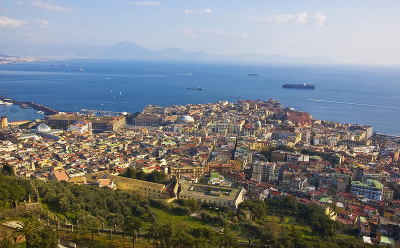 Naples seafront. Naples view from a castle on the hill, Italy stock photos