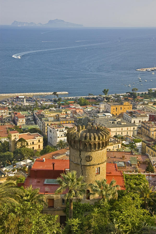 Naples seafront. Naples gulf view and the seafront, italy royalty free stock photos