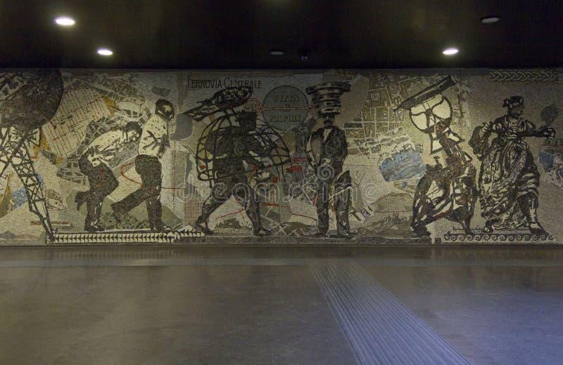 Naples subway, Toledo Station, artwork detail stock photos