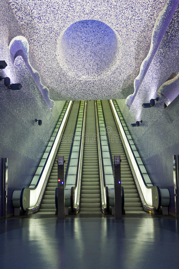 Naples subway, Toledo Station. Naples, Italy, August 10, 2014: Naples subway, Toledo Station. The Art Stations, distributed along the lines 1 and 6 of the Metro royalty free stock photography