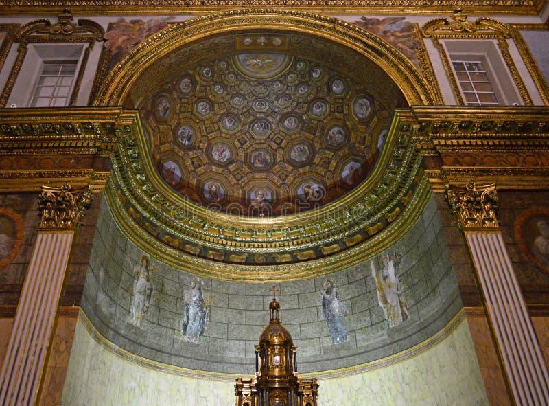 Naples` 16th century royal palace interior detail of cappella reale or royal chapel royalty free stock photos
