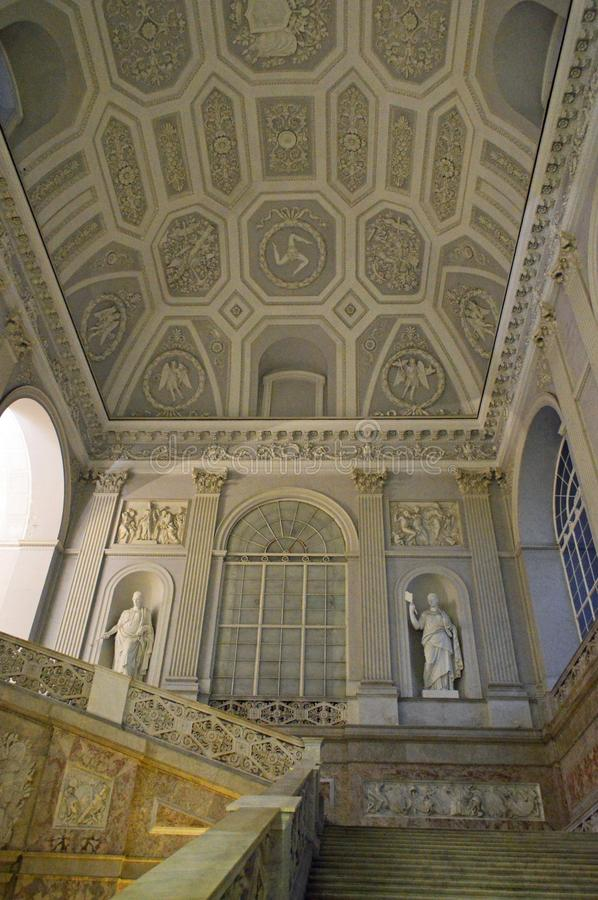 Naples` 16th century royal palace Monumental staircase. Monumental staircase at Naples palazzo reale or royal palace from 16th century when naples was under stock images