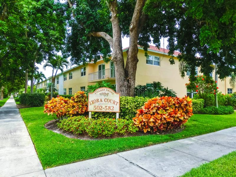 Naples, USA - May 8, 2018: Exterior of a two-story modern resort building in Naples, Florida stock image