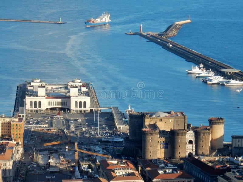 Naples - View of the port from San Martino royalty free stock image