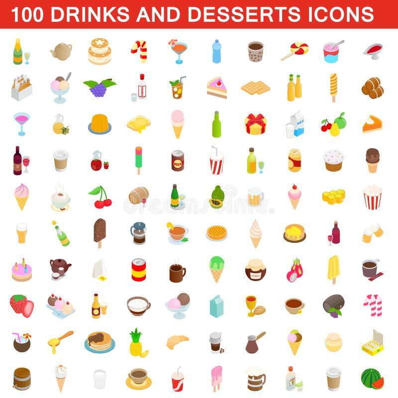 100 napojów i deserów ikon ustawiają, isometric styl royalty ilustracja