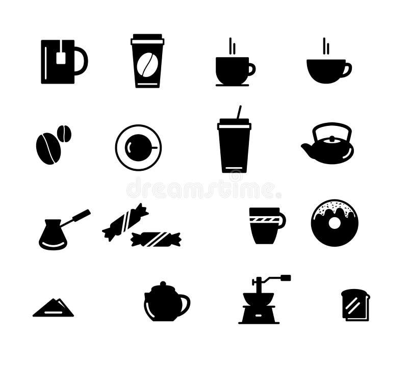 Napojów i napojów ikony set Kawowa herbata ilustracja wektor