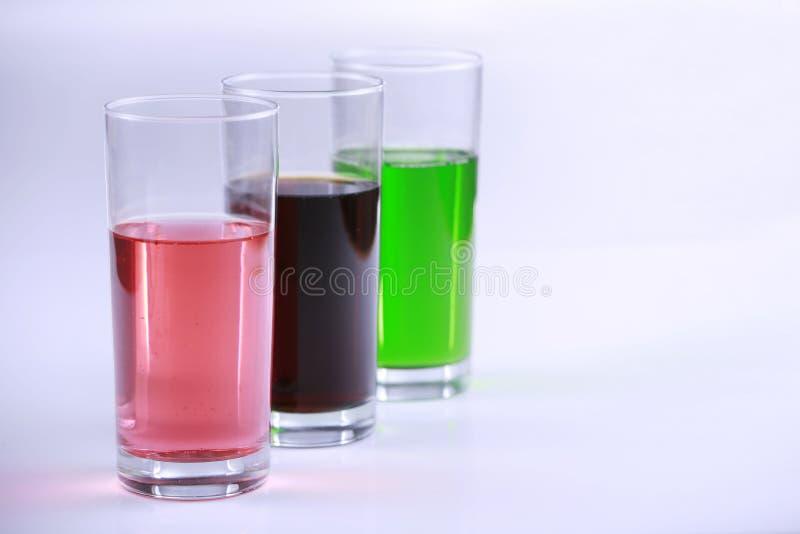 napojów kolorowi szkła trzy fotografia royalty free