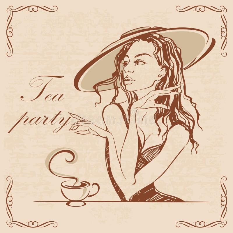 napoje bawją się relaksującej herbacianej kobiety Dziewczyna w kapeluszowej pije herbacie Elegancki rocznika spojrzenie Romantycz royalty ilustracja