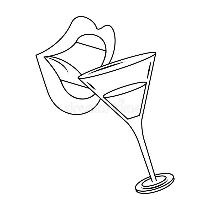 Napoje na wargi i koktajle ilustracji