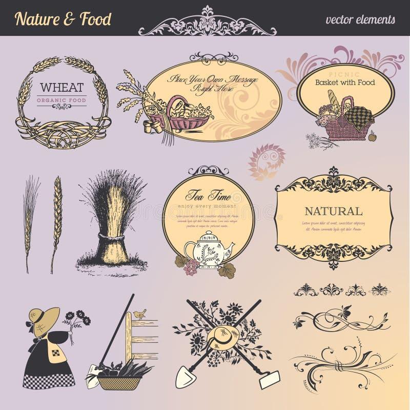 napoju elementów jedzenie przylepiać etykietkę set ilustracji