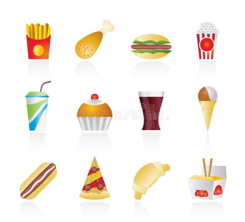 napoju fasta food ikony ilustracji
