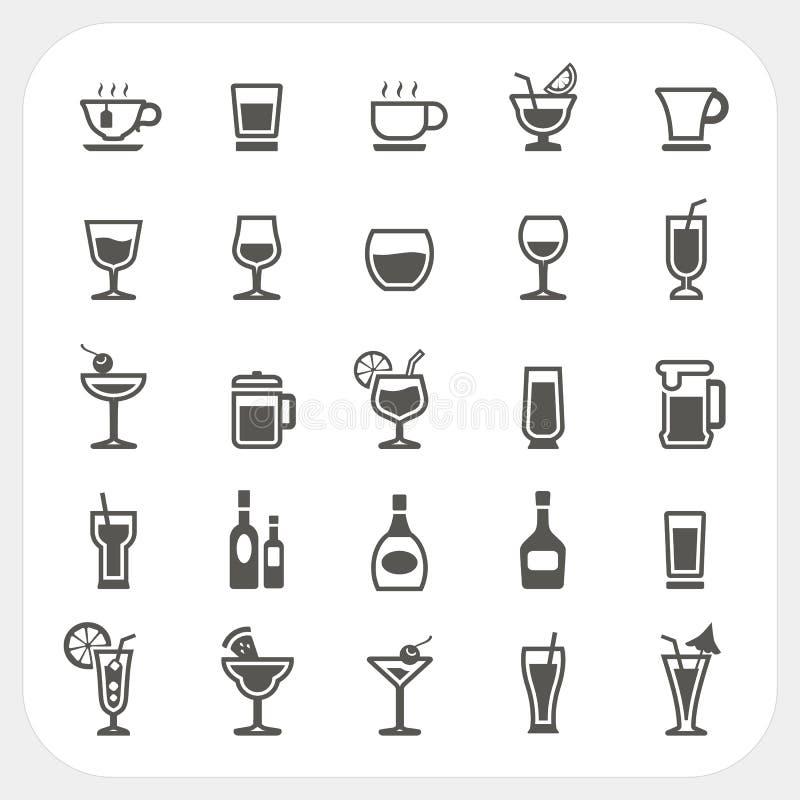 Napoju i napoju ikony ustawiać royalty ilustracja