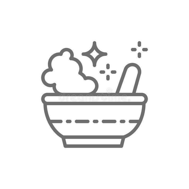 Napoju miłosnego puchar, magiczny moździerz i tłuczek kreskowa ikona, ilustracja wektor