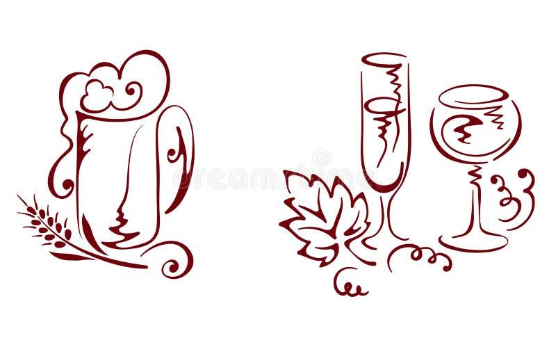 napoju piwny wino royalty ilustracja