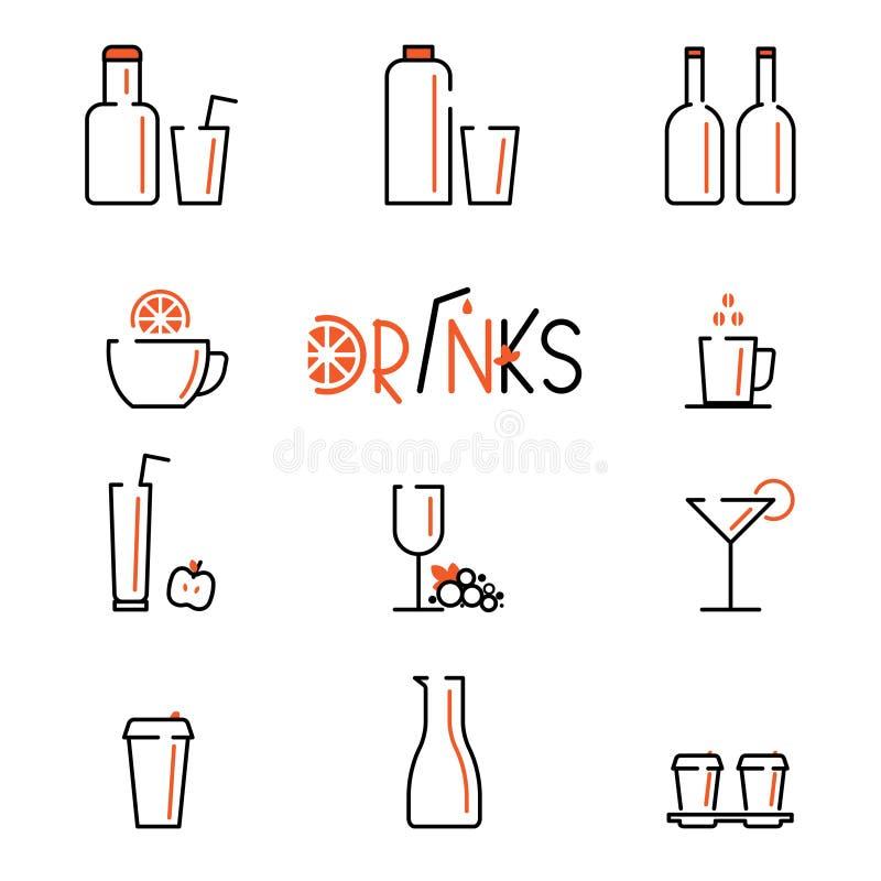 Napoju wektoru linii ikony ustawiać Zawiera ikony filiżankę herbata, kawa, szkło winograd, koktajl i butelki, royalty ilustracja