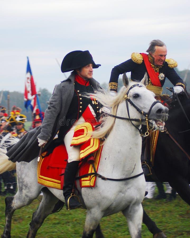Napoléon conduisant un cheval blanc photographie stock